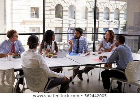 adam · oturma · karşı · kadın · ofis · toplantı - stok fotoğraf © is2