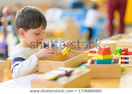 Egyedüli fiú doboz torony gyermek jókedv Stock fotó © IS2