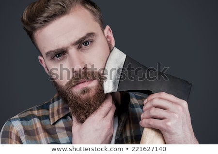 Homme ax coup crème visage barbe Photo stock © LightFieldStudios