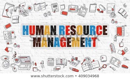 Humanismo recurso gestão branco rabisco ícones Foto stock © tashatuvango