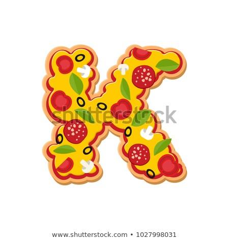 Letter K pizza font. Italian meal alphabet. Lettring fast food Stock photo © popaukropa