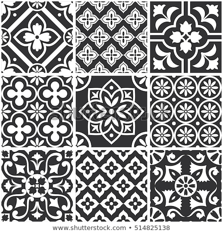 moroccan geometric tiles seamless pattern vector tiles design black and white background stock photo © redkoala