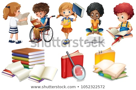 Сток-фото: Kid · девушки · коляске · книга · иллюстрация · девочку