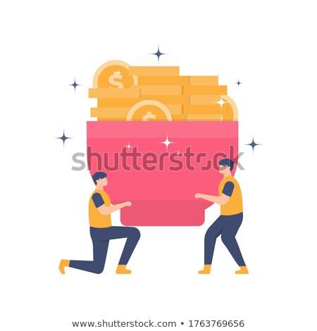 üzletember szállít boglya bitcoin érmék boldog Stock fotó © alexanderandariadna