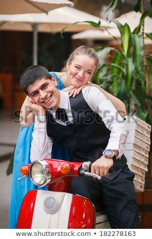 Happy free freedom couple driving scooter on summer date Stock photo © arturkurjan