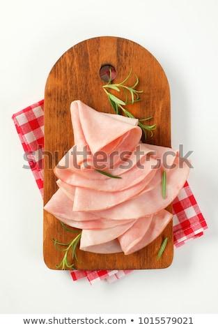 Cienki plastry szynka rozmaryn świeże pozostawia Zdjęcia stock © Digifoodstock