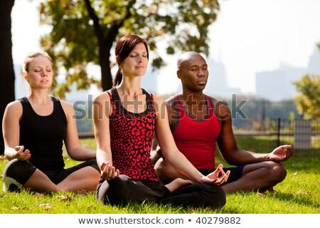 Vrouw yoga Central Park stad stedelijke wolkenkrabber Stockfoto © IS2