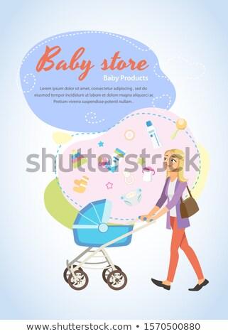 áruház online vásárlás függőleges szórólapok izometrikus bevásárlóközpont Stock fotó © studioworkstock