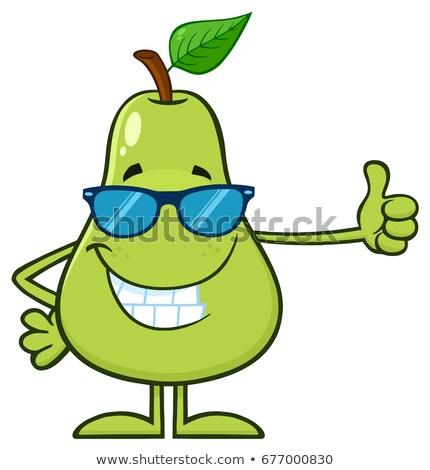 Verde pera frutas gafas de sol mascota de la historieta carácter Foto stock © hittoon