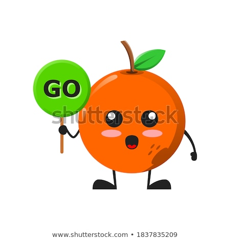 Smiling Orange Fruit Cartoon Mascot Character Holding A Banner With Text Fresh Fruit Stock photo © hittoon