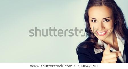 Donna d'affari punta inoltrare isolato bianco business Foto d'archivio © hsfelix