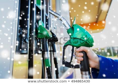 benzin · istasyonu · gece · farlar · araba · sokak · mavi - stok fotoğraf © vlad_star