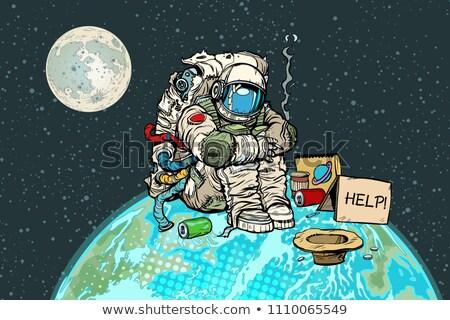 Ubogich głodny astronauta księżyc pop art retro Zdjęcia stock © studiostoks