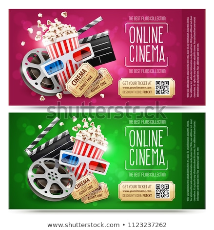 Cinema flyers with gift coupon. Gold free Stock photo © LoopAll