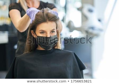 Fodrászat stylist fodrász arcok ikon olló Stock fotó © Krisdog