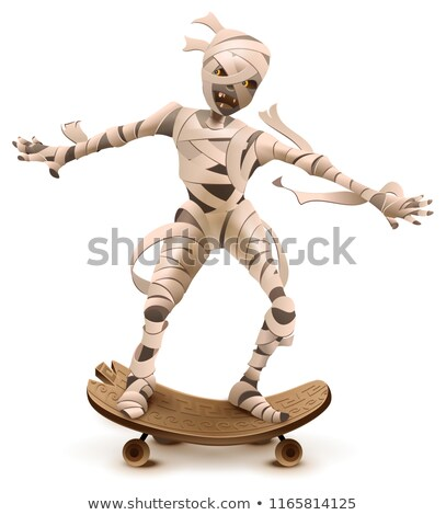 egyptian cartoon mummy monster roll on skateboard stock photo © orensila