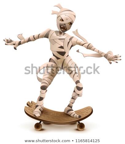 Egípcio desenho animado monstro rolar andar de skate isolado Foto stock © orensila