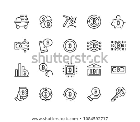 Cryptocurrency Bitcoin Related Thin Line Symbol Icon Design Set stock photo © smith1979