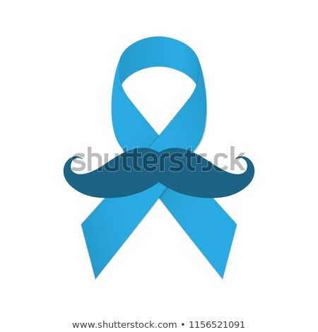 Movember icon. Mustache and blue ribbon as a symbol of struggle with cancer. Stock photo © AisberG