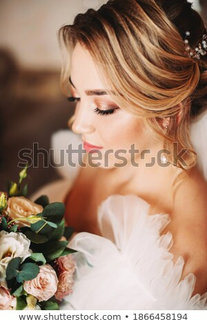 красивой невеста цветы свадьба прическа макияж Сток-фото © artfotodima