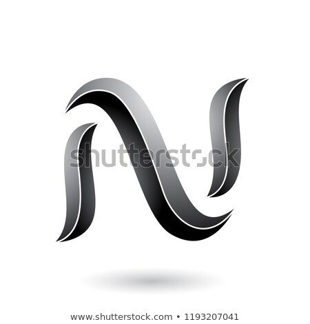 Grey Striped Snake Shaped Letter N Vector Illustration Stock photo © cidepix