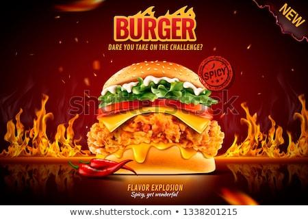 ホット ハンバーガー 火災 ファストフード店 ポップアート レトロな ストックフォト © studiostoks