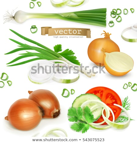 slices of shallot onions for cooking on white background stock photo © ungpaoman