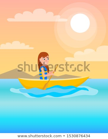 best summer time pposter kayaking girl sits in boat stock photo © robuart