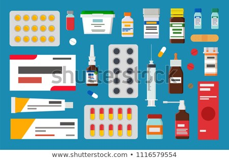 Foto stock: Forma · pílulas · pomada · estéril · seringa · bege