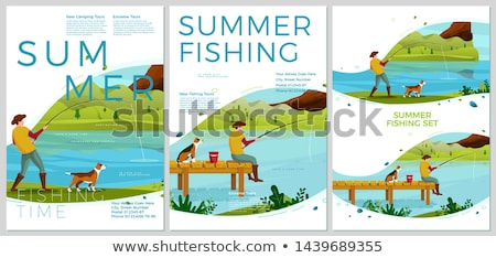Fishing Posters Men Set. People Catching Fish Text Stock photo © robuart