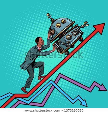 Teknik devrim işadamı yukarı robot büyüme Stok fotoğraf © studiostoks