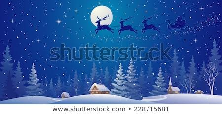 Sneeuwval dorp winter landschap Rood banner Stockfoto © liolle