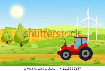 farm with windmill and tractor vector illustration stock photo © robuart