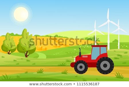 Farm szélmalom traktor rusztikus tájkép csőr Stock fotó © robuart