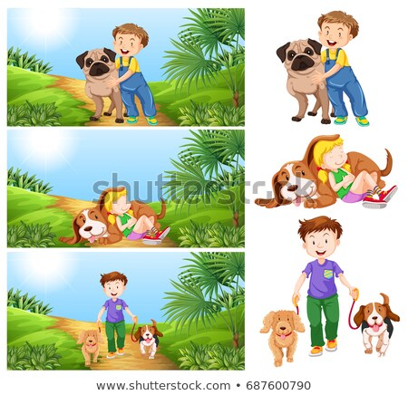 Foto d'archivio: Scenes With Children And Pet Dog
