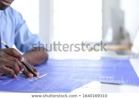 Glimlachend afrikaanse architect blauwdruk kantoor architectuur Stockfoto © dolgachov