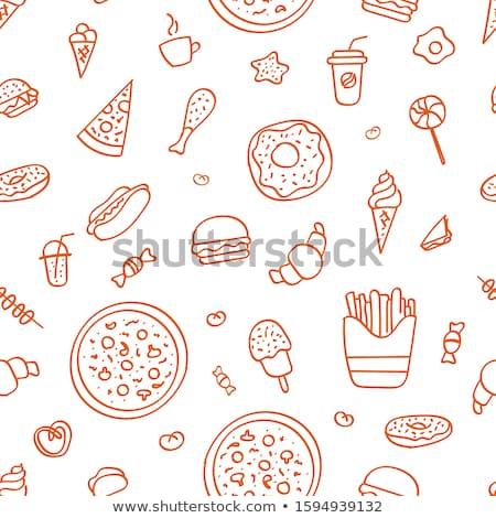 жареная курица сэндвич быстрого питания графических искусства изолированный Сток-фото © robuart