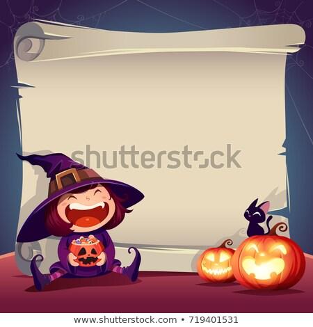karikatür · halloween · ilerleyin · imzalamak · karakter · etrafında - stok fotoğraf © krisdog