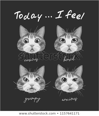 Cartoon weinig kat vervelen illustratie naar Stockfoto © cthoman
