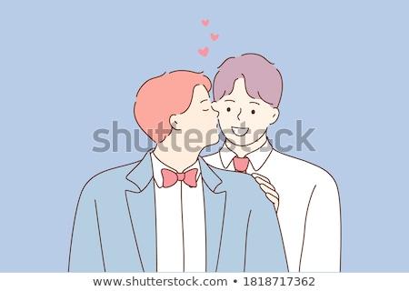 Karikatür gülen damat erkek düğün evlilik Stok fotoğraf © cthoman