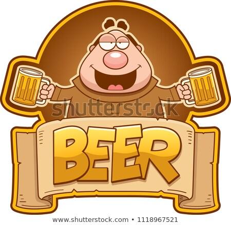 cartoon monk drinking beer stock photo © cthoman