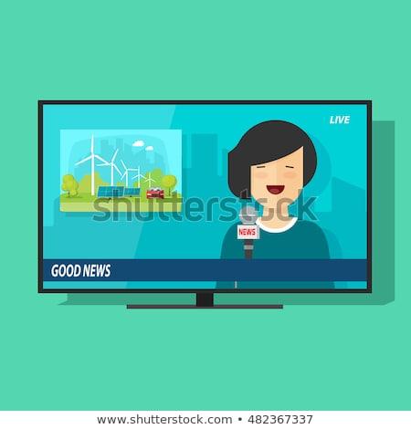Mutlu karikatür düz ekran tv örnek televizyon Stok fotoğraf © cthoman