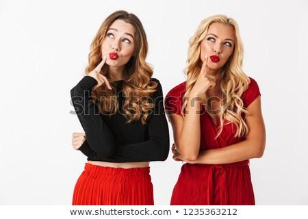 портрет два задумчивый молодые женщины Сток-фото © deandrobot