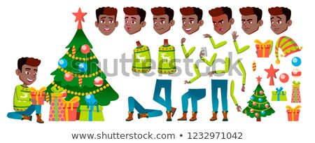 Boy Black, Afro American Vector. Christmas Child. Animation Creation Set. Happy Childhood. New Year  Stock photo © pikepicture
