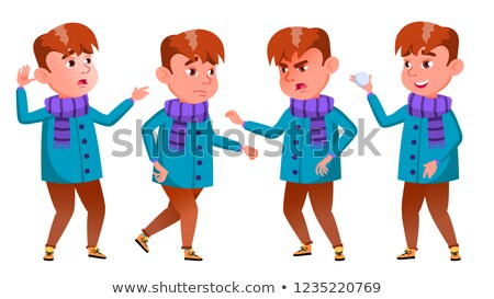 Foto stock: Boy Poses Set Vector Emotions Winter Holidays Clever Positive Person Outdoor Clothes For Banner
