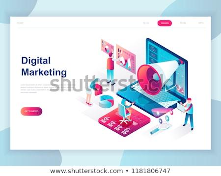 Digital comercialización equipo lupa portátil flecha Foto stock © RAStudio