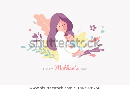 Motherhood Vector Woman Taking Care About Kids Stock photo © robuart