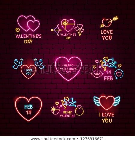 be my valentine neon label stock photo © anna_leni