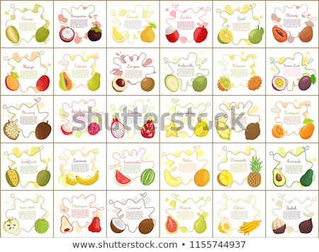 Mangosteen and Papaya Ambarella Fruit Set Vector Stock photo © robuart