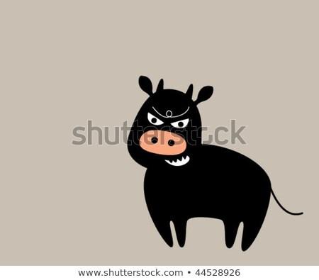 Peur cartoon ox illustration regarder Photo stock © cthoman
